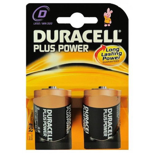 2 Batterie Torcia D Duracell Plus Power