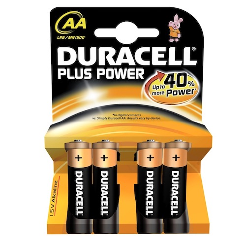 4 Batterie Stilo AA Duracell Plus Power