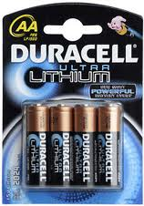 4 Batterie Stilo AA Litio Duracell Ultra