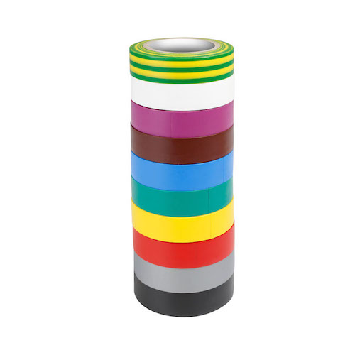 Pack 10 Nastro Isolante in PVC 19mm Multicolor